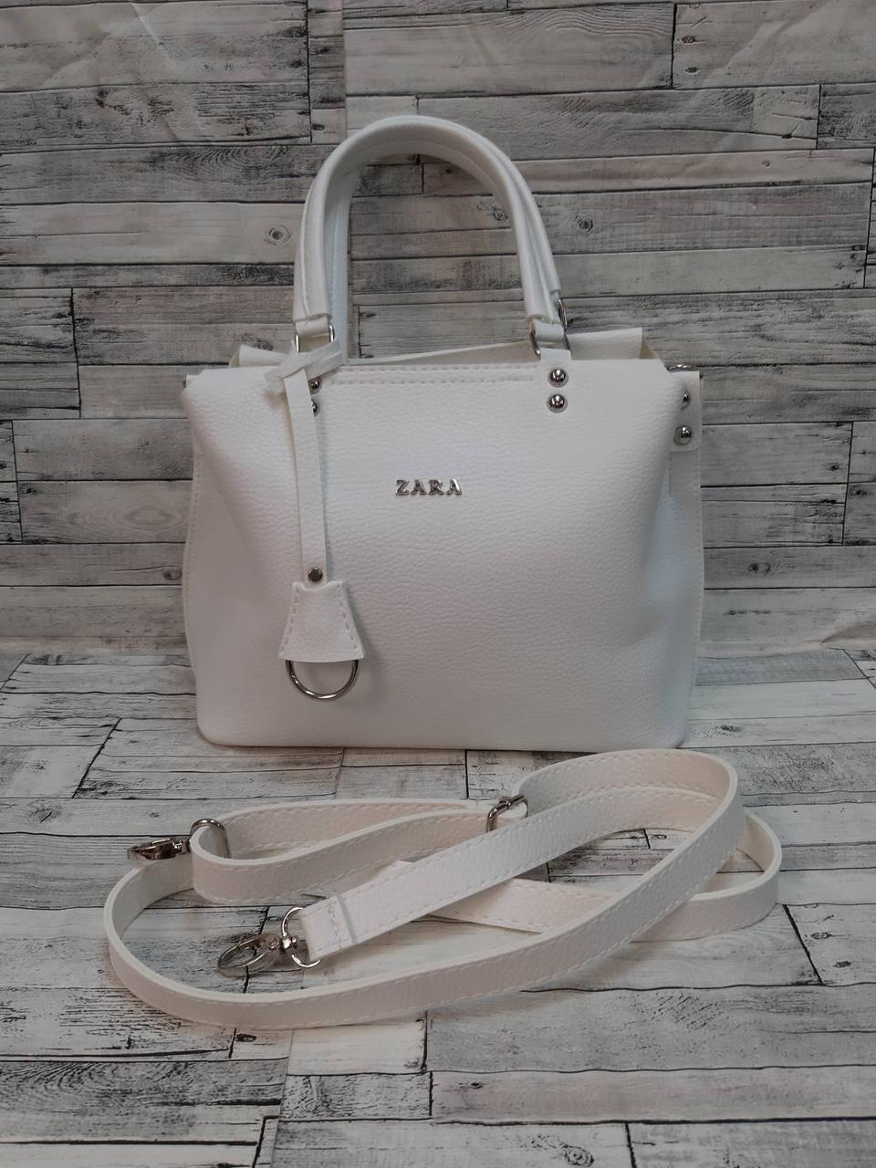 Стильная Женская сумка ZARA Зара из экокожи . Белая