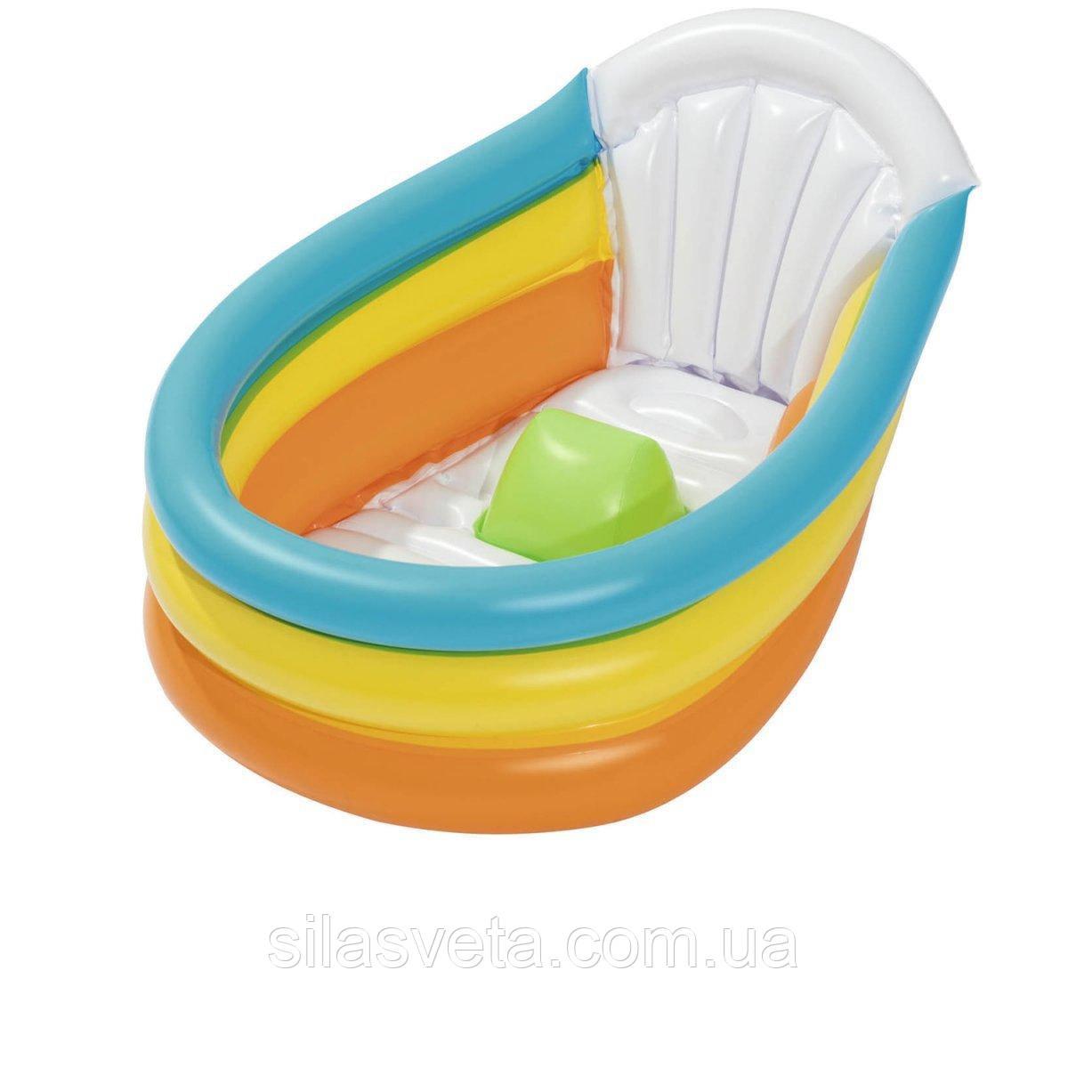 Надувной детский бассейн с термометром и надувным дном 51134 (76х48х33 см.)