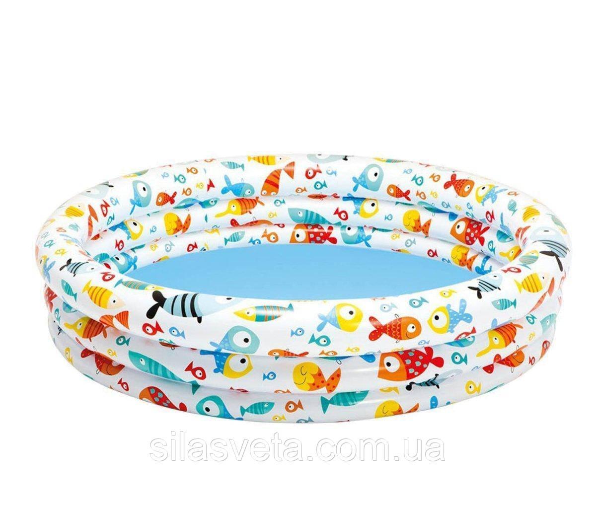 """Надувной детский бассейн с ненадувным дном, Intex 59431 """"Аквариум"""" (132х28 см.) объём 248 л."""