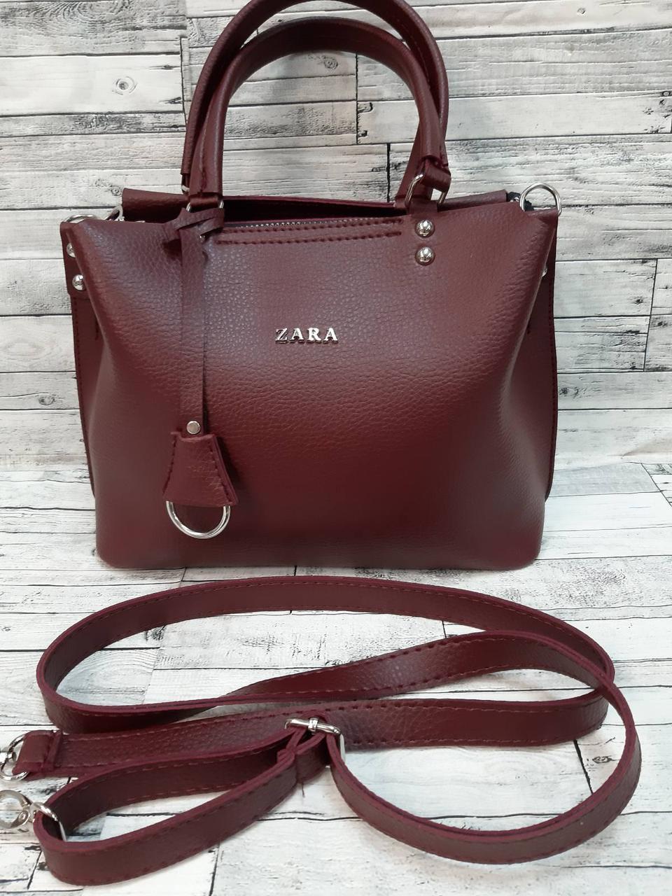 Стильная Женская сумка ZARA Зара из экокожи . Бордовая