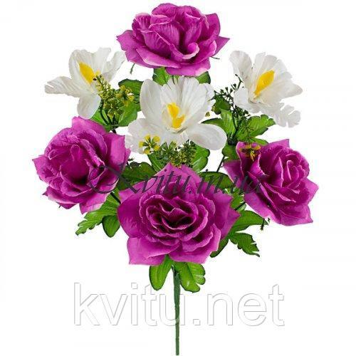 Букет искусственных роз с орхидеей, 42см