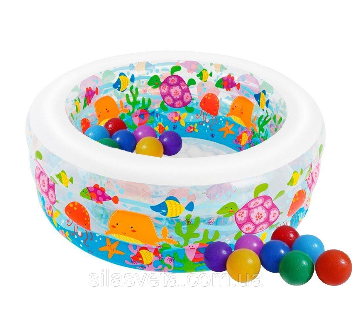 """Надувной детский бассейн с надувным дном Intex 58480 """"Океан"""" (152х56 см.) объем 360 л. + 10 шариков."""