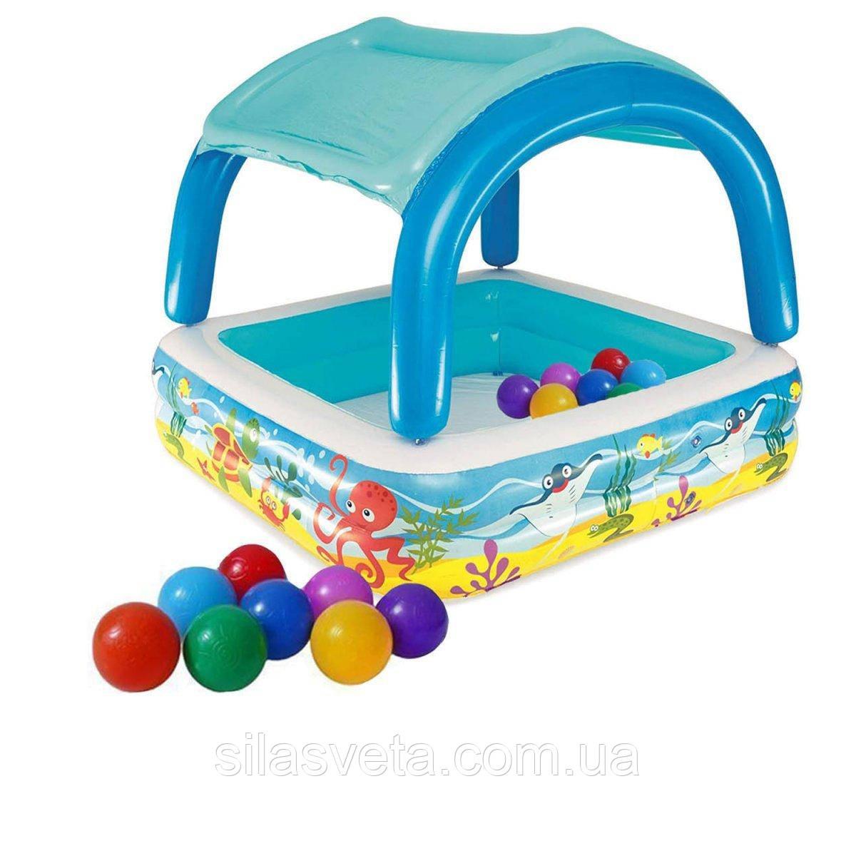 Надувной детский бассейн с навесом Bestway 52192 (147х147х122см.) объём 265 л. + 10 шариков