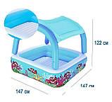 Надувной детский бассейн с навесом Bestway 52192 (147х147х122см.) объём 265 л. + 10 шариков, фото 5