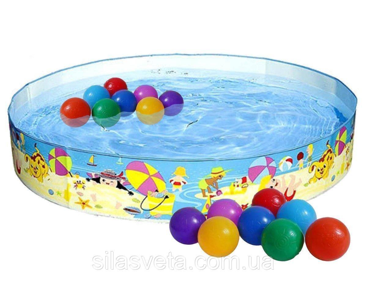 """Детский каркасный бассейн Intex 56451 """"Пляж на мелководье"""" (152х25 см.) объем 443 л. + 10 шариков"""