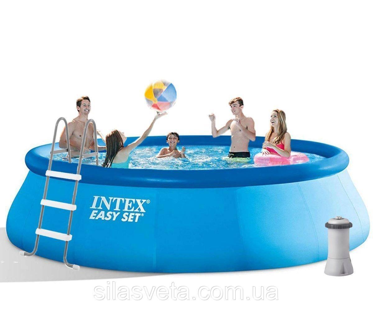Надувной бассейн Intex 26166 (457х107 см) 12430 л +лестница, подстилка, тент, фильтр-насос(3785 л/ч)