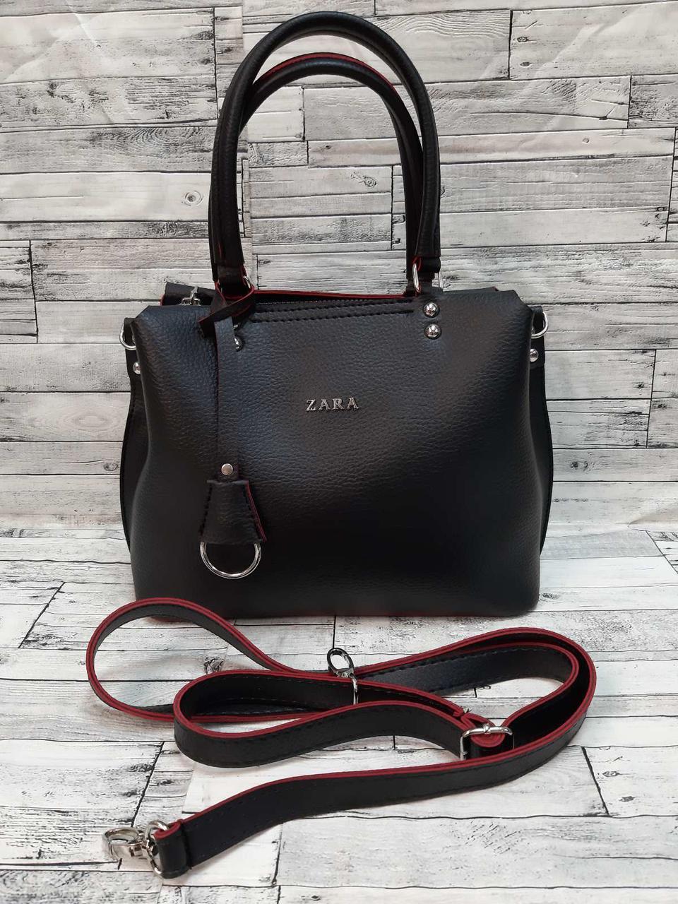 Стильная Женская сумка ZARA Зара из экокожи . Черная с красным