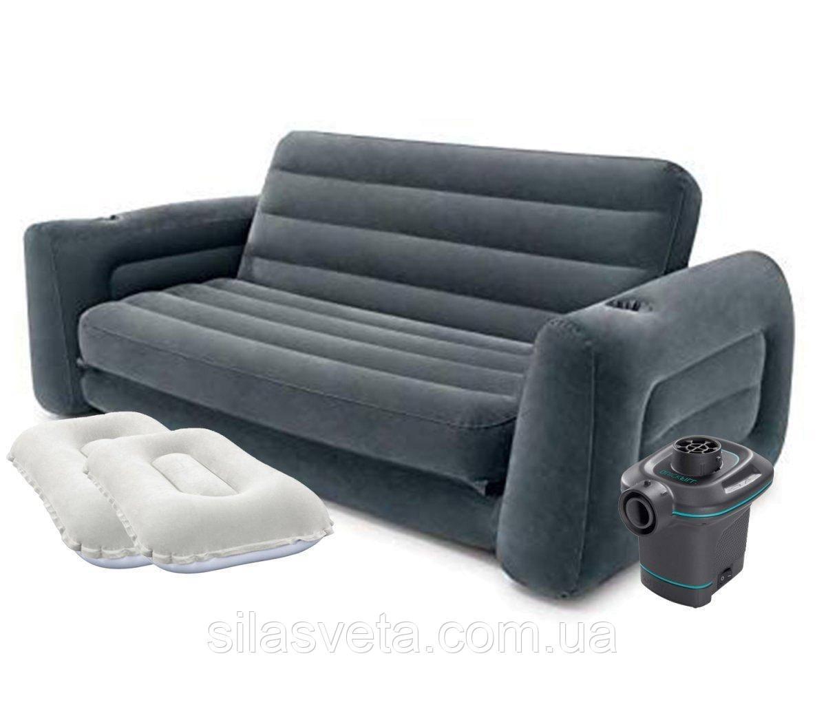 Надувной двухместный диван-трансформер Intex 66552-4 Pull-Out Sofa (203x224x66 см) + насос и подушки
