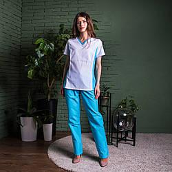 Женский медицинский костюм Арина белый с бирюзовыми брюками