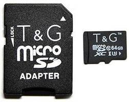 Карта памяти T&G microSDXC 64GB Class 10 UHS-I U3 + SD-адаптер (TG-64GBSDU3CL10-01)