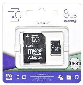 Карта пам'яті T&G, MicroSDHC 8GB UHS-I Class 10 + SD adapter (TG-8GBSD10U1-01)
