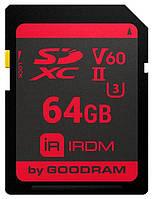 Карта памяти GooDRam SDXC 64GB IRDM UHS-II U3 V60 (IR-S6B0-0640R11)