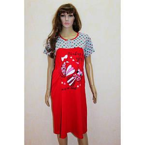 Домашнее платье для сна и отдыха из хлопка с накатом 48-58 р