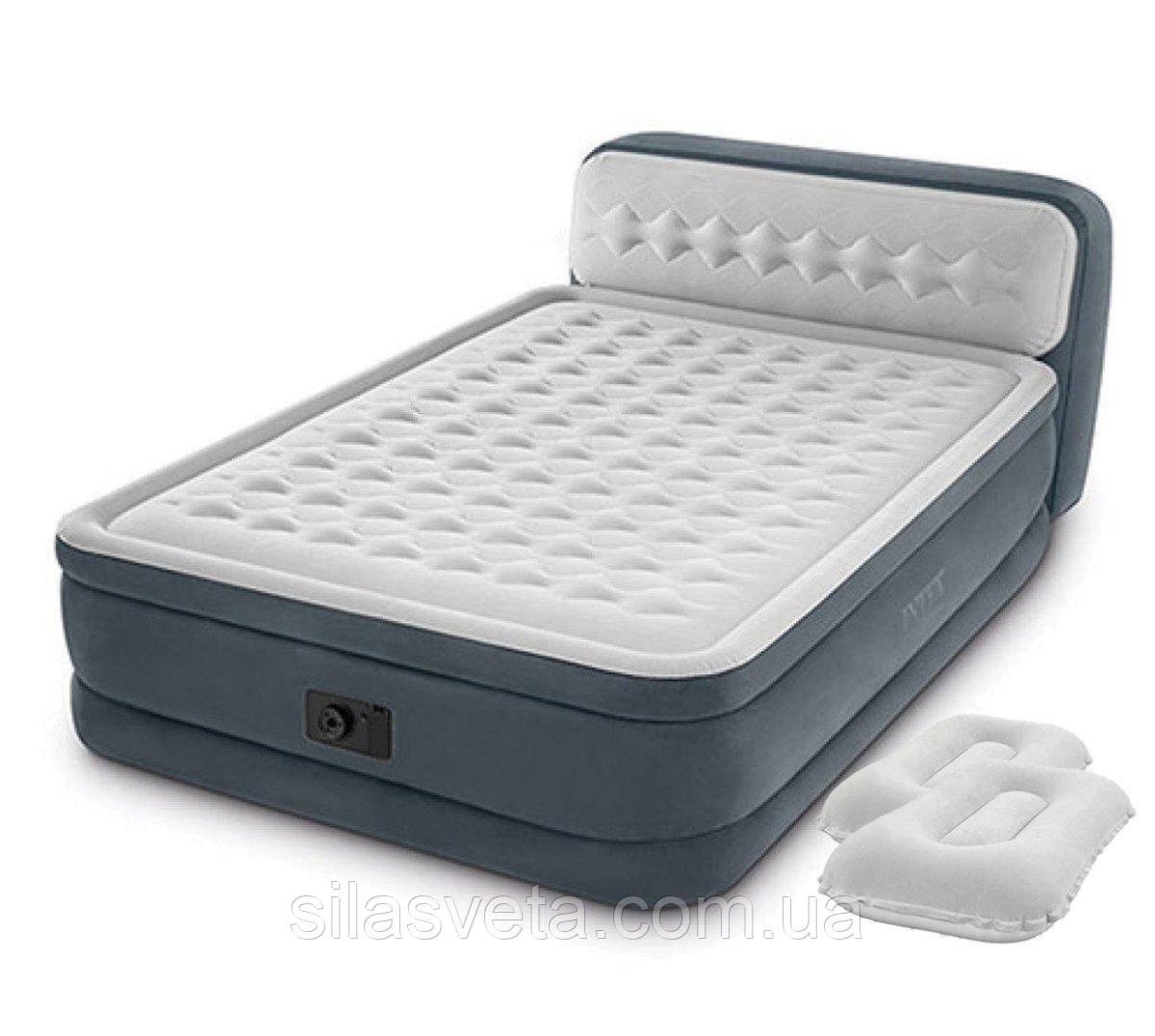 Надувная двухместная кровать со встроенным эл.насосом Intex 64448-2 (152х236х46 (86) см.) + подушки