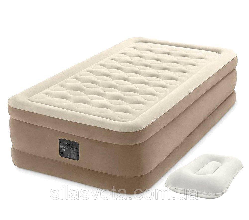 Надувная одноместная кровать со встроенным электронасосом Intex 64426-2 (99x191x46 см.) + подушка.