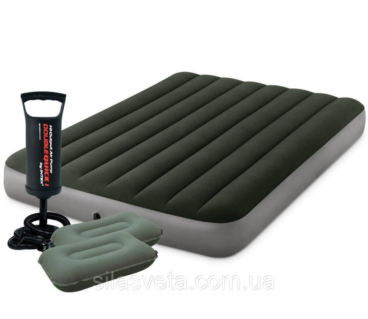 Надувной полуторный матрас Intex 64108-2 (137x191x25 см.) + ручной насос и подушки.