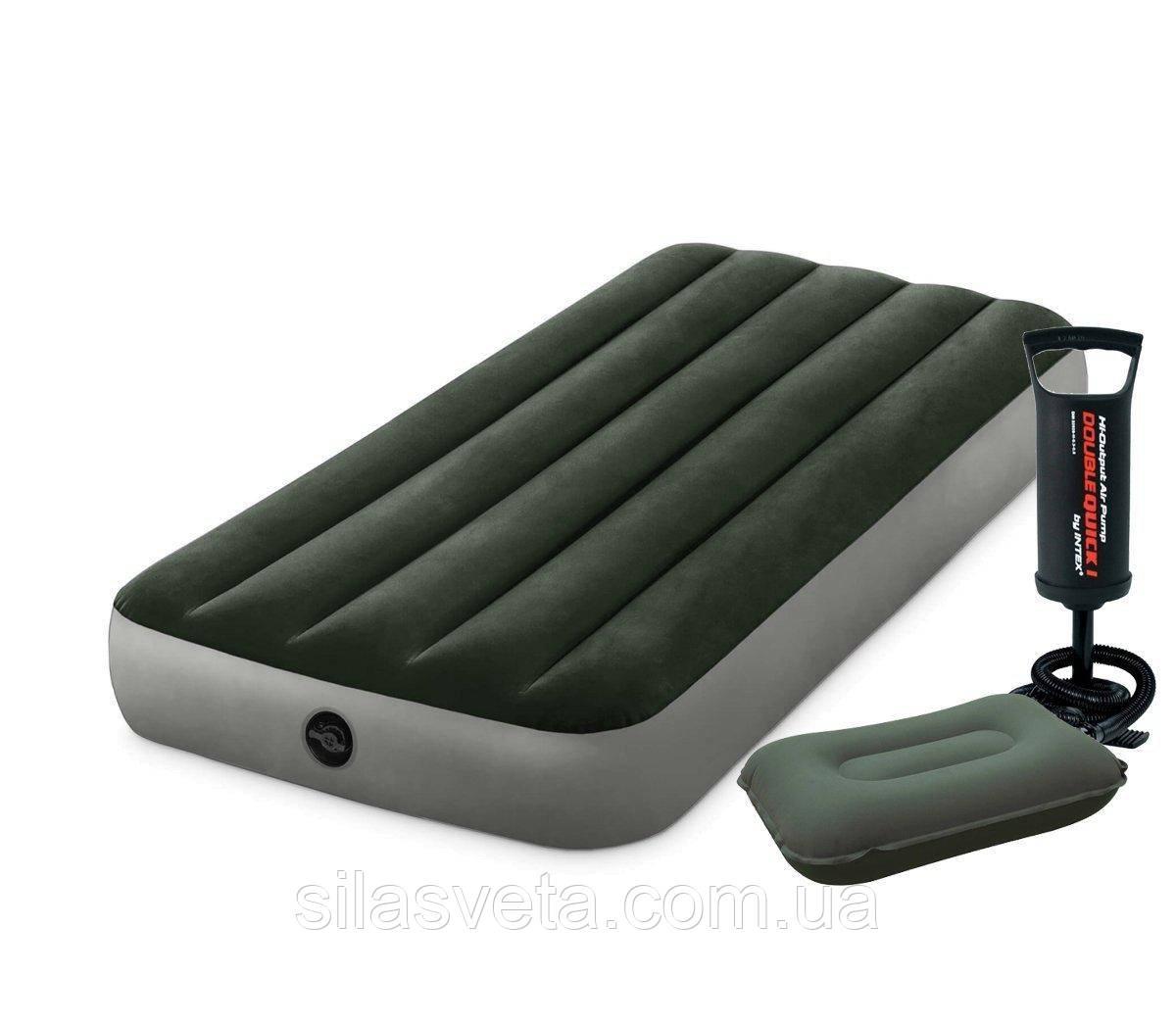 Одноместный надувной матрас Intex 64106-2 Pillow Rest Classic с насосом и подушкой 76 x 191 x 25 см Зеленый (RT-64106-2)
