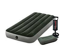 Одноместный надувной матрас Intex 64106-2 Pillow Rest Classic с насосом и подушкой 76 x 191 x 25 см Зеленый (RT-64106-2), фото 1
