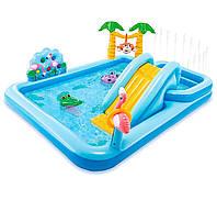 """Детский надувной игровой бассейн с горкой и фонтаном Intex 57161 """"Джунгли"""" (257x216x84см.) + игрушки"""