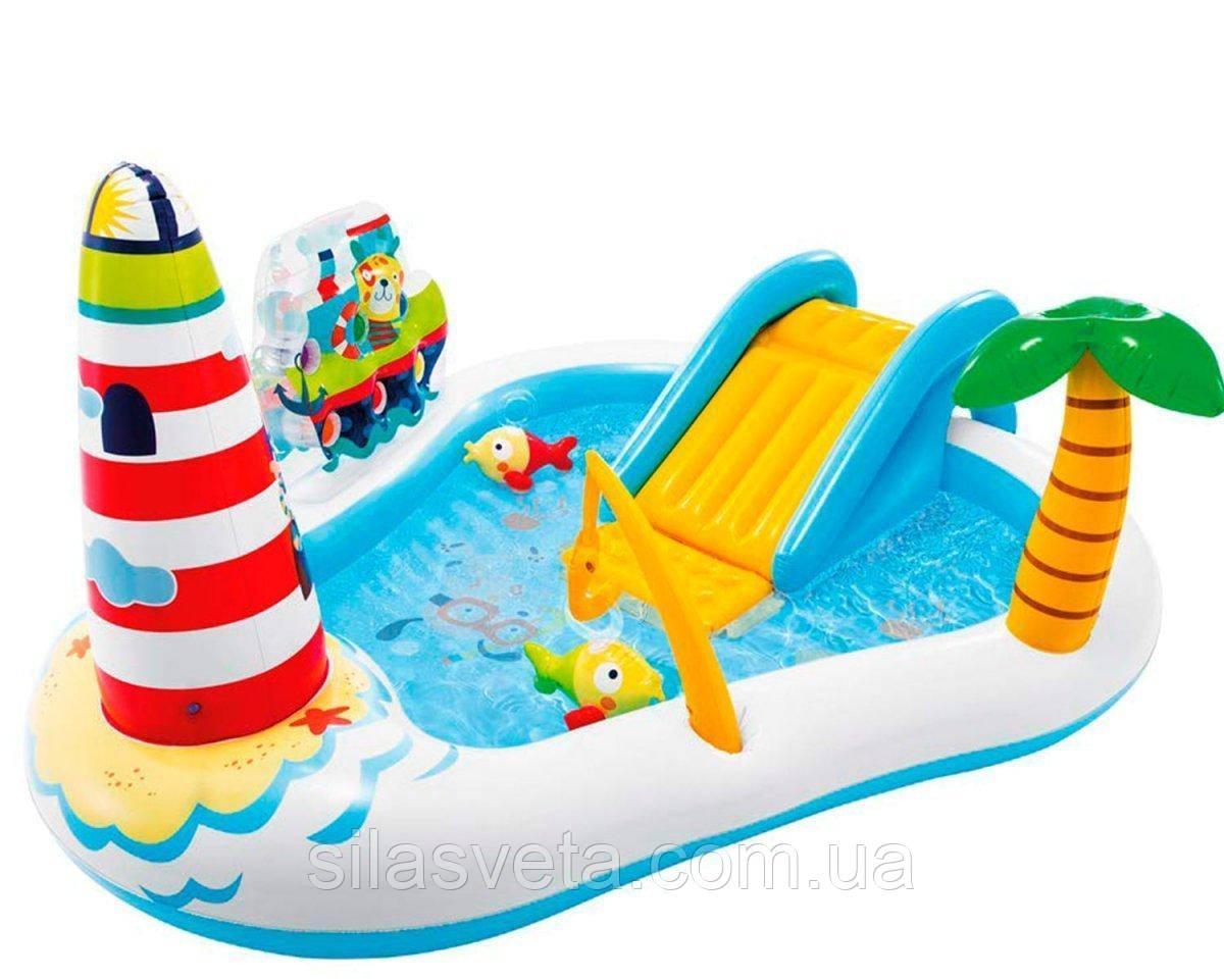 Надувной детский бассейн Intex 57162 «Веселая Рыбалка» с горкой, шариками и фонтаном 218х188х99 см.