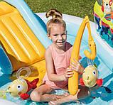 Надувной детский бассейн Intex 57162 «Веселая Рыбалка» с горкой, шариками и фонтаном 218х188х99 см., фото 4