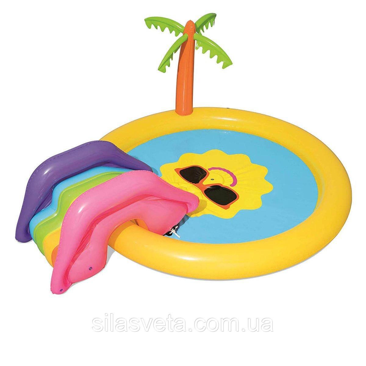 """Детский надувной игровой центр-бассейн с горкой Bestway 53071 """"Солнышко"""" (237х201х104 см.)"""