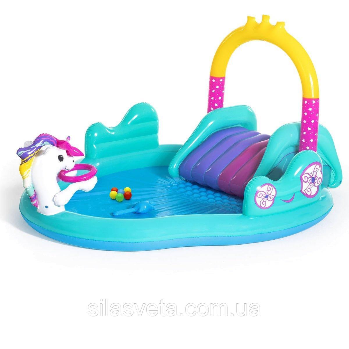 """Детский надувной игровой центр-бассейн с горкой и фонтаном Bestway 53097 """"Единороги"""" 274х198х137 см."""