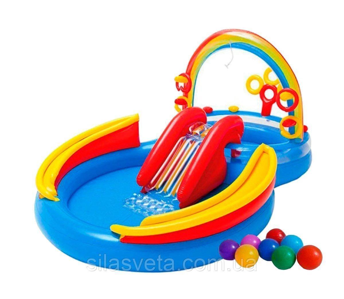 """Надувной детский игровой центр-бассейн с 16 шариками Intex 57453-1""""Радуга"""" с надувными кольцами, фонтаном и горкой 297 х 193 х 135 см Цветной"""