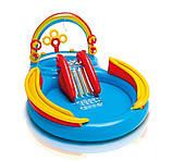 """Надувной детский игровой центр-бассейн с 16 шариками Intex 57453-1""""Радуга"""" с надувными кольцами, фонтаном и горкой 297 х 193 х 135 см Цветной, фото 2"""