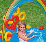 """Надувной детский игровой центр-бассейн с 16 шариками Intex 57453-1""""Радуга"""" с надувными кольцами, фонтаном и горкой 297 х 193 х 135 см Цветной, фото 4"""