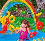 """Надувной детский игровой центр-бассейн с 16 шариками Intex 57453-1""""Радуга"""" с надувными кольцами, фонтаном и горкой 297 х 193 х 135 см Цветной, фото 5"""