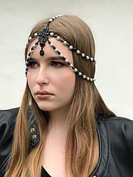 """Тика на голову """"Black perls"""", чорно-сірого кольору."""