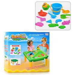 Детская пластиковая песочница-столик DI Yuan Toys c аксессуарами, 13 предметов