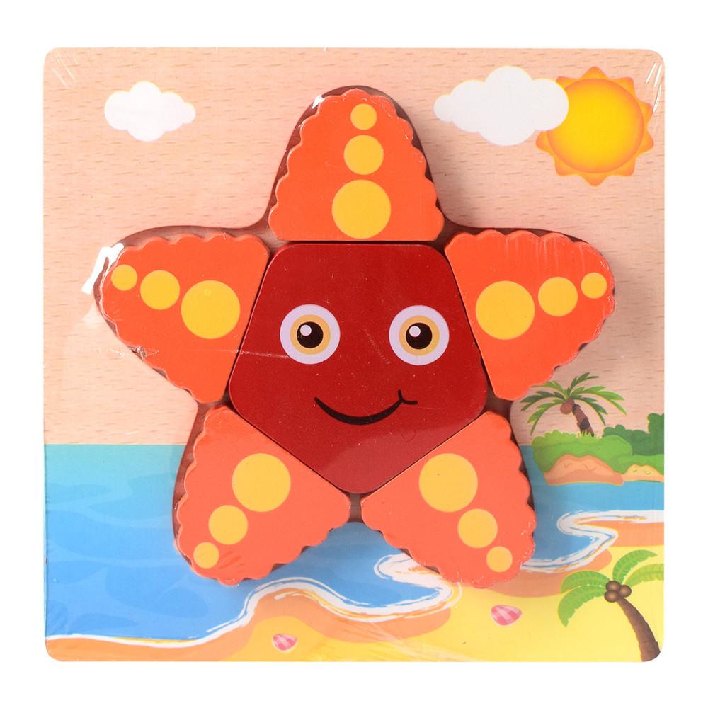 Деревянная игрушка Пазлы 15X15-2  морская звезда, в кульке, 14,5-14,5-1,5см