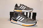 Чоловічі кросівки Adidas Zx 500 Rm (сіро-білі з помаранчевим) D10, фото 3
