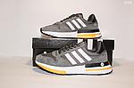 Чоловічі кросівки Adidas Zx 500 Rm (сіро-білі з помаранчевим) D10, фото 8