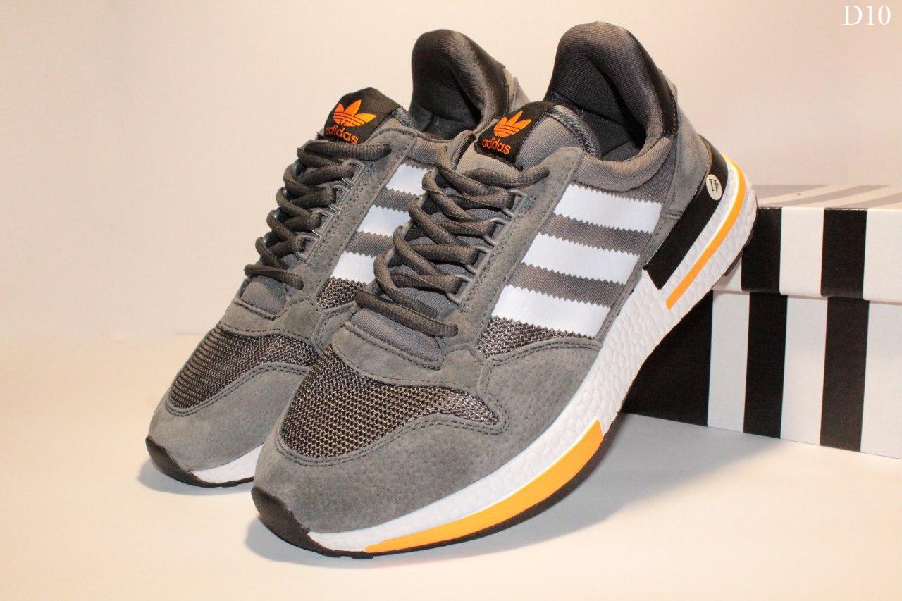 Чоловічі кросівки Adidas Zx 500 Rm (сіро-білі з помаранчевим) D10