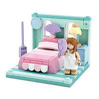 Конструктор SLUBAN M38-B0757F спальня, кровать ,фигурка, 109дет, в кор-ке, 15-14,5-6,5см