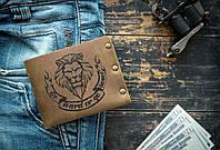 Мужской кожаный кошелек ТатуНаКоже, Львиное сердце, фото 1