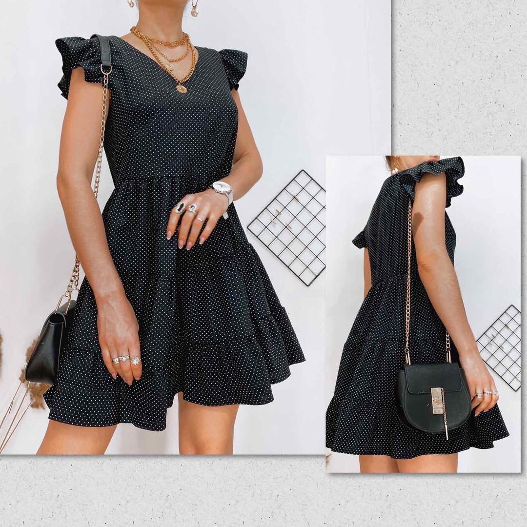 Летнее красивое черное платье в горошек