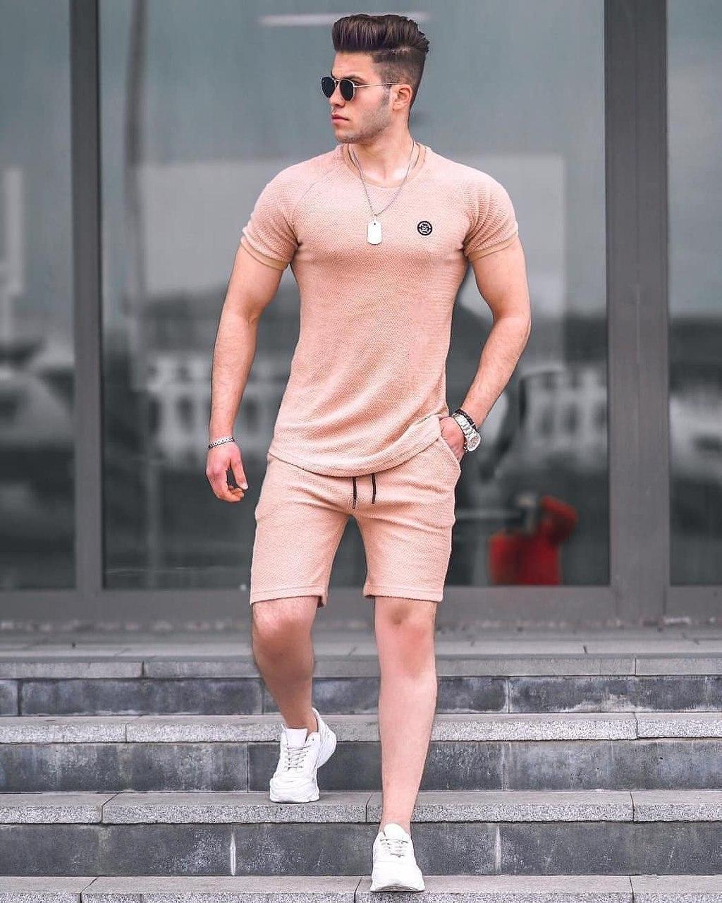 Чоловічий комплект футболка + шорти Madmext K8 biege