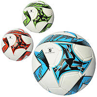 Мяч футбольный 2500-84  размер 5, ПУ1,4мм, ручн.работа, 420-430г, 3цв, в кульке,1цвет в ящике