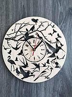 Круглые настенные часы из дерева 7Arts Птички CL-0154, КОД: 1474275