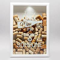 Копилка для винных пробок Big I only drink wine (белая), фото 1