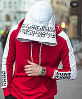 """Мужской Худи """"double hood"""" """"2020"""" красный"""