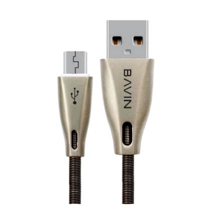 Шнур (кабель) Bavin CB070  USB - microUSB серебряный 1,2м, фото 2
