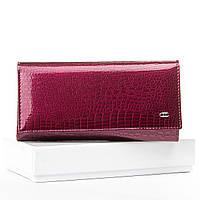 Женский кожаный клатч кошелек фиолетовый натуральная лаковая кожа