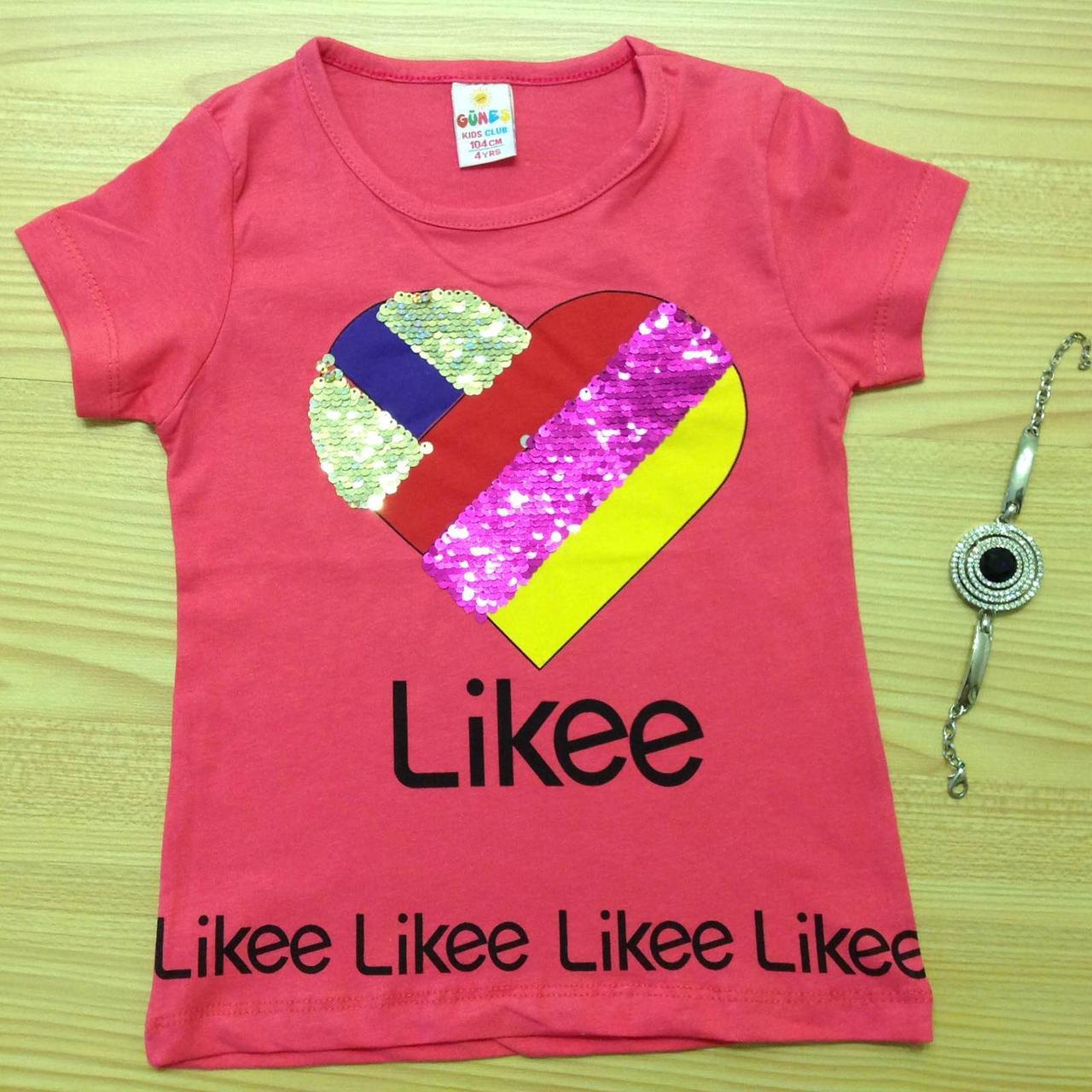 """Футболка детская """"Likee"""" для девочек. Возраст 4-5-6-7-8 лет. Розовый. Оптом"""