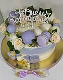Топпер З Днем народження з зірками Топер на торт з білого пластику Пластиковий топер на торт Топери в гліттері, фото 4