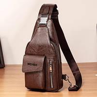 Мужская сумка через плечо бананка однолямочный рюкзак бренда WEIXIER PREMIUM из PU кожи